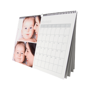 Impression photos couleurs sur calendrier photo
